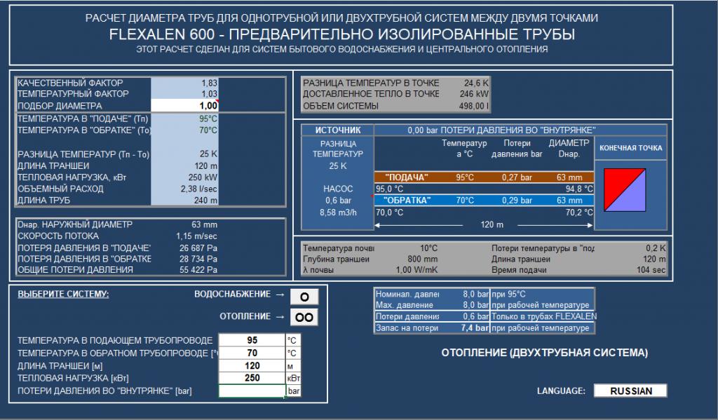 Программа подбора диаметров Флексален