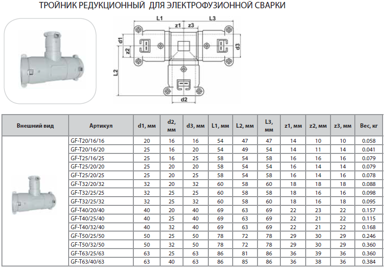 Тройник редукционный для электрофузионной сварки