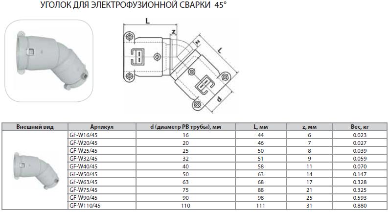 Уголок 45° для электрофузионной сварки